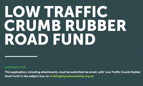 Tyre Stewardship Australia announces Low Traffic Crumb Rubber Road Fund